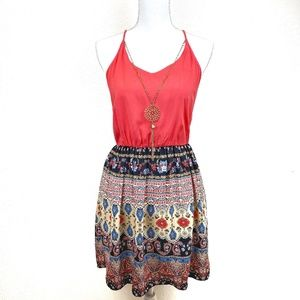 NWOT BCX Red Boho Dress with Necklace Size S